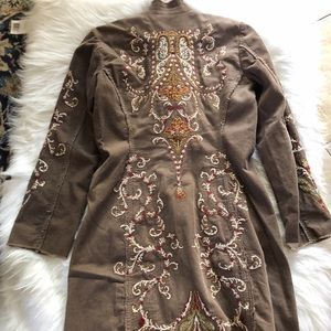 Johnny Was Brown Corduroy Embroidered Coat Duster